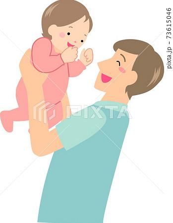 赤ちゃんを抱きあげる若いお父さん 73615046