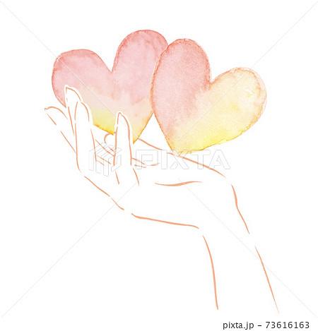 水彩 ハート 手 ハンドモデル 愛 バレンタイン 記念日 母の日 福祉 家族 恋人 カットイラスト 73616163