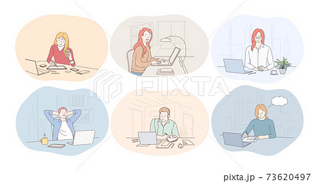 Working in office, laptop, online communication, freelance, startup concept 73620497