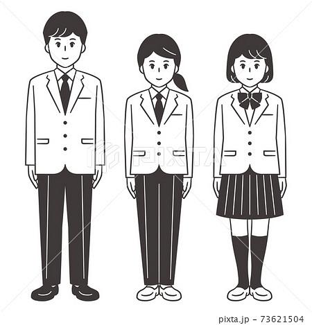中高生 男女 全身 ブレザー 女子スラックスあり 73621504