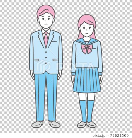 中高生 男女 全身 ブレザー セーラー服 73621509