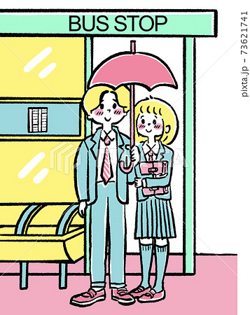 バス停で傘をさす学生カップル 73621741