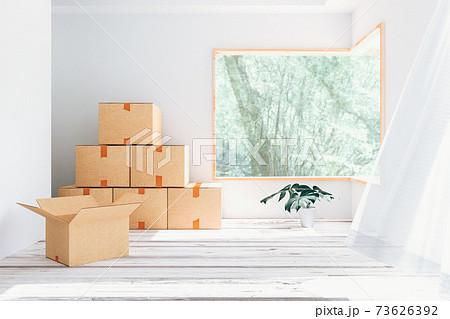 ダンボール箱が置かれた新築の部屋の3Dイラスト 73626392