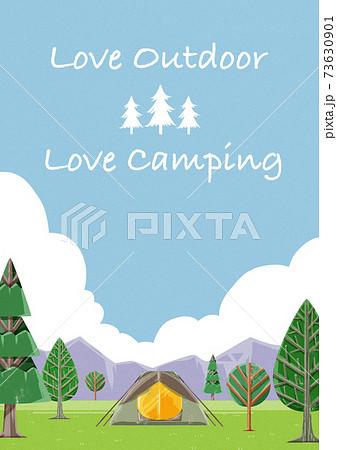 キャンプ場の風景イラスト 73630901