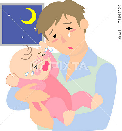 夜泣きで困る父親 73644520