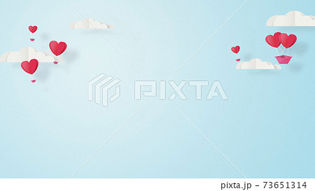 バレンタイン-折り紙-3DCG-ハート気球-かわいい世界観【ペーパークラフト】 73651314