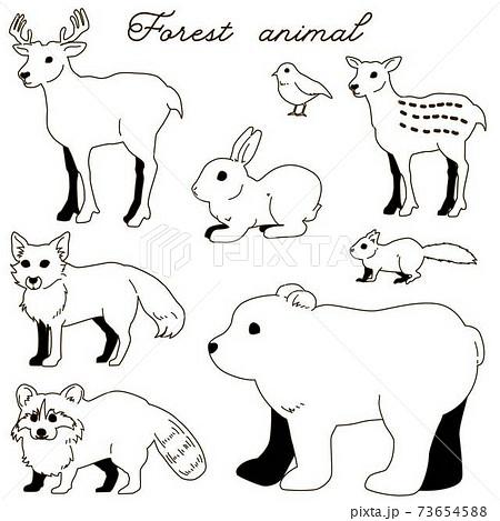 森の動物01線画 73654588