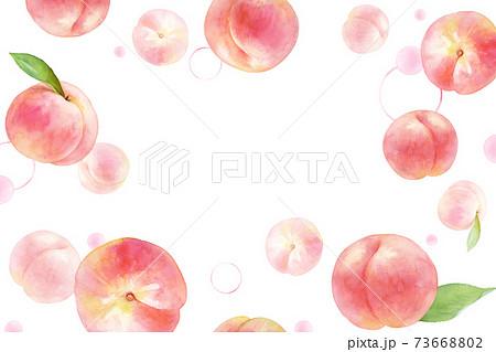 ジューシーな桃とドットの背景。水彩イラスト。コピースペースあり。 73668802
