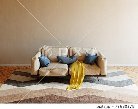 ソファーと部屋の3DCG 73680379