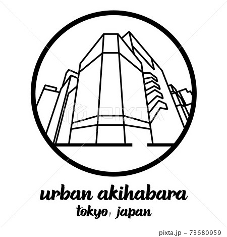 Circle icon line urban Akihabara. vector illustration 73680959