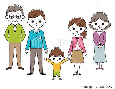 3世代家族 5人 手描き 73681725