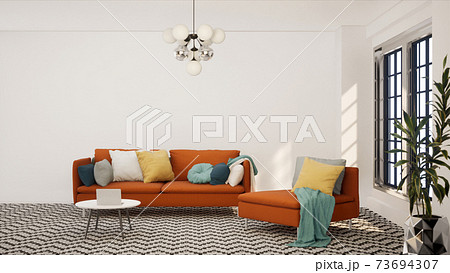 Vintage style living room with retro decor 3d render. The Rooms have pattern floors, white walls and window. Furnished with retro furniture. 73694307