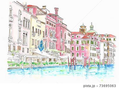 世界遺産の街並み・イタリア・ベニスの運河 73695063