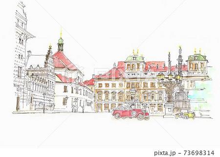 世界遺産の街並み・チェコ・プラハ旧市街の広場 73698314