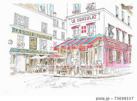 ヨーロッパの街並み・フランス・パリ・モンマルトルのカフェ 73698337