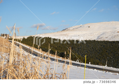 真冬の霧ケ峰高原 ビーナスラインの景色 73698346