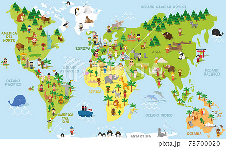 Funny cartoon world map with childrens of different nationalities, animals and monuments of all the continents and oceans. Names in spanish. Vector illustration for preschool education and kids 73700020