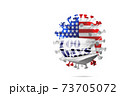 Model of COVID-19 coronavirus colored in national USA flag in face mask with sign masks for 100 days in America, concept of pandemic spreading, medicine and healthcare. 73705072