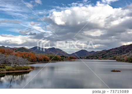 兵庫県三田市にある千丈寺湖の冬景色 73715089