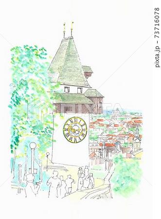 世界遺産の街並み・オーストリア・グラーツの時計塔 73716078