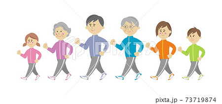 家族でジョギング・ウォーキングをするイラストイメージ 73719874