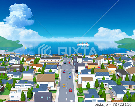 海の見える街 風景 住宅  73722116