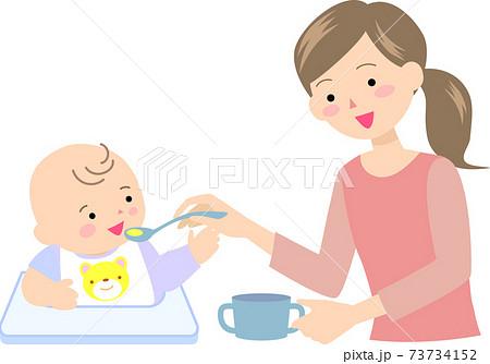 離乳食を食べる男の子と母親 73734152