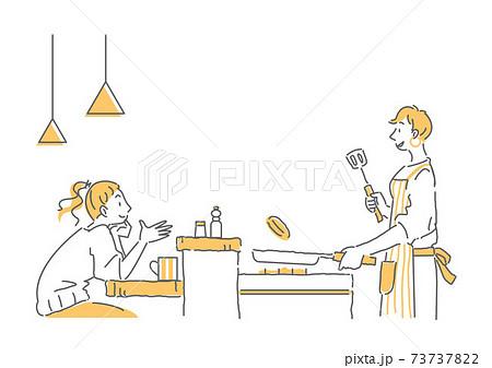 カウンターキッチンで料理をしながらおしゃべりをするカップルのシンプルな線画イラスト 女性同士 73737822