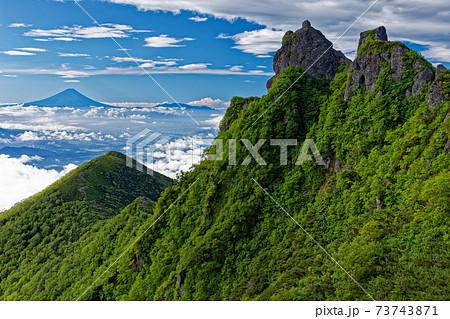 夏の八ヶ岳連峰・権現岳の岩峰と富士山 73743871
