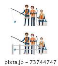 マスクをして釣りをする家族【釣り人・マスク・シニア・堤防・海釣り・川釣り・柵】イラスト 73744747