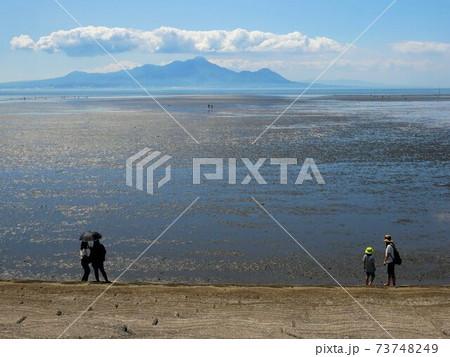 干潮時の有明海を楽しむ人々 (熊本県宇土半島) 73748249