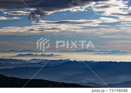 八ヶ岳連峰・権現岳稜線から見る西上州・日光の山並み 73748686