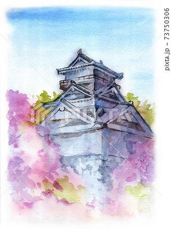 お城と桜の風景画 73750306