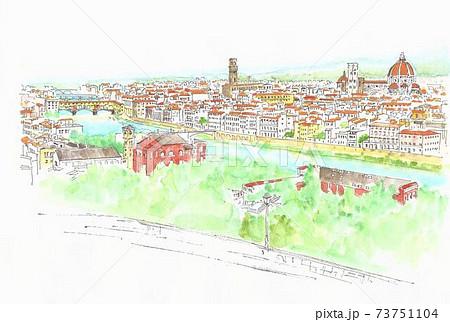 世界遺産の街並み・イタリア・フィレンツエ・ベッキオ橋 73751104