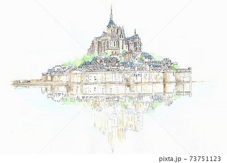 世界遺産の街並み・フランス・モンサンミッシェル 73751123