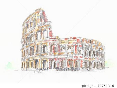世界遺産の街並み・イタリア・ローマのコロシアム 73751316