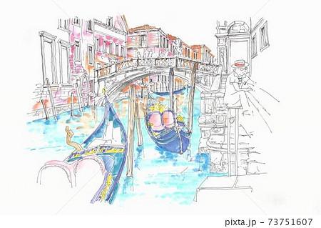 世界遺産の街並み・イタリア・ベニスの小運河 73751607
