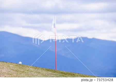 曇り空のゴルフ場と白いゴルフボール 73753428