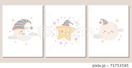 月と星のかわいいカード、またはポスターセット 73753585