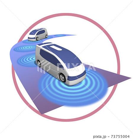5G 高速かつ大容量ネットワークで変わる自動運転の世界のイラスト (バリエーションあり) 73755004