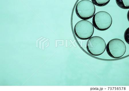 緑を背景に透明な皿と緑に染まったガラス球 73756578