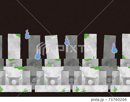 カジュアルなタッチ 真夜中の墓地の背景イラスト 73760206