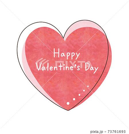 赤色のハートと文字【Happy Valentine's Day】 73761693