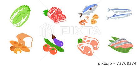 食材 肉魚野菜パン 73768374