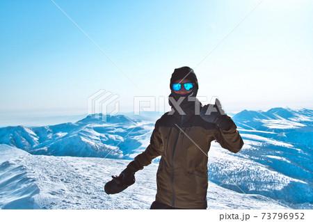 旭岳山頂からバックカントリー 73796952