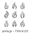 Fire icons with and spurts of flame Vector set of monochrome signs in ink hand drawing sketching style for tattoo or print design 73814132