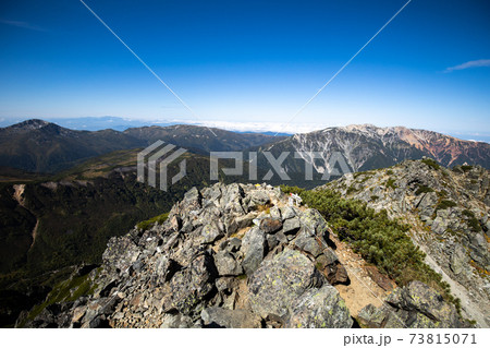 《北アルプス》水晶岳山頂から薬師岳と雲ノ平と黒部五郎岳 73815071