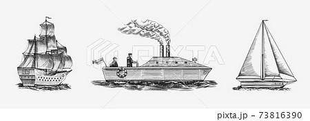 Sailboat in the sea, summer adventure, active vacation. Seagoing vessel with steam smoke from the 73816390