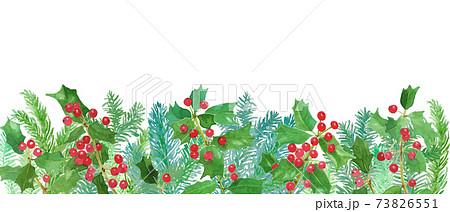 モミの木とクリスマスホーリーの水彩イラストフレーム 73826551