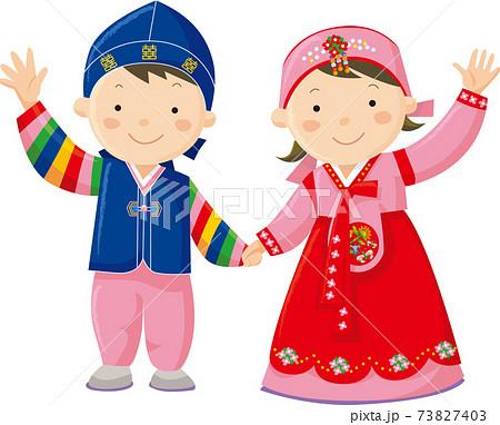 民族衣装を来た韓国の子供 73827403